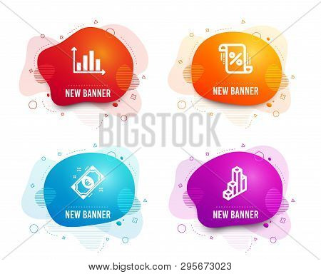Liquid Badges. Set Of Loan Percent, Euro Money And Diagram Graph Icons. 3d Chart Sign. Discount Blue