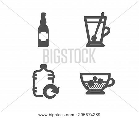 Set Of Refill Water, Tea Mug And Beer Bottle Icons. Cold Coffee Sign. Cooler Bottle, Cup With Teaspo