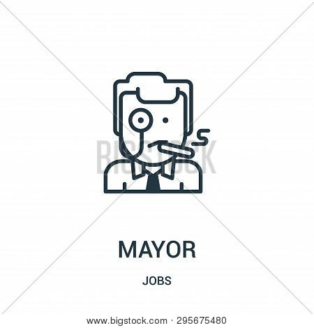 Mayor Icon Isolated On White Background From Jobs Collection. Mayor Icon Trendy And Modern Mayor Sym