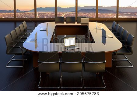 3d Rendering Of An Empty Boardroom At An Office Building