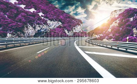 Concept Of Spiritual Journey And Oneiric Sense Of Life. Driving Through The Fantasy Valley. Dreamsca