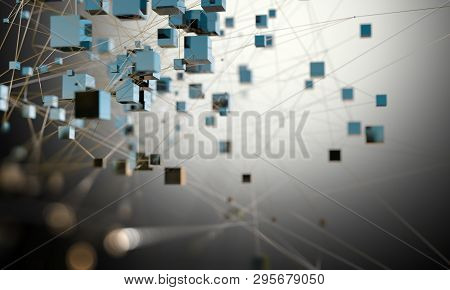 Cubes Connected In Dark Space. Partner And Networking Design. Internet And Data Communication.futuri