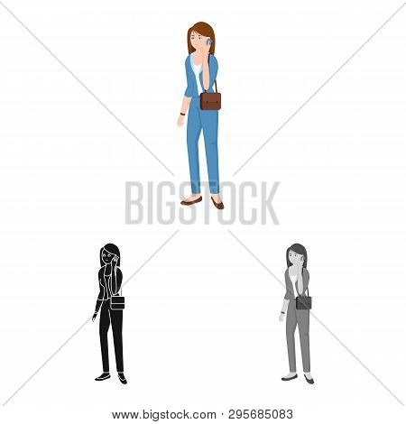 Isolated Object Of Woman  And Business Symbol. Set Of Woman  And Businessperson Stock Symbol For Web