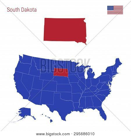The State Of South Dakota Is Highlighted In Red. Blue Vector Map Of The United States Divided Into S