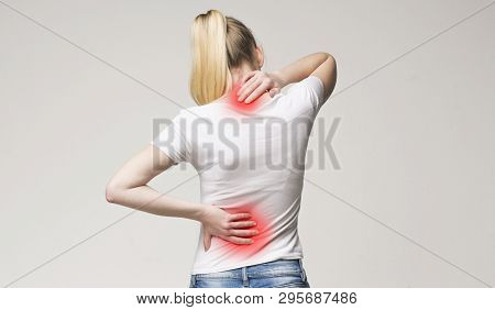 Spine Osteoporosis. Scoliosis. Spinal Cord Problems On Womans Back.