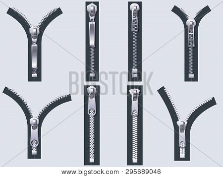 Open And Closed Zipper. Metal Zip Pulls, Fabric Unzip Clasp And Cloth Zippers Isolated Realistic Vec