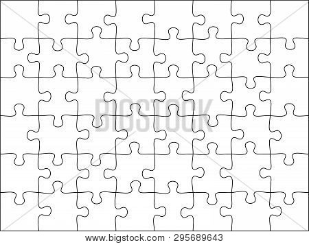 Puzzles Grid Template. Jigsaw Puzzle 48 Pieces, Thinking Game And 8x6 Jigsaws Detail Frame Design Ve