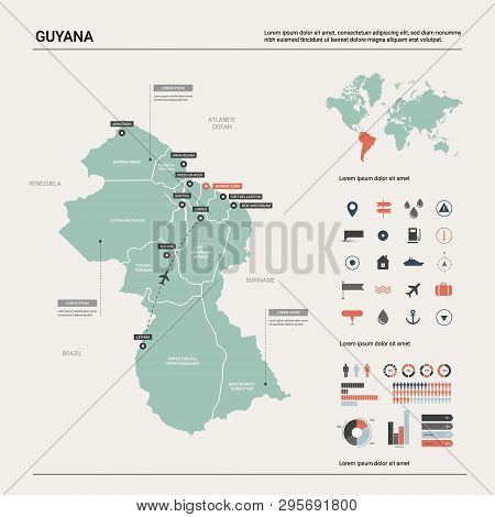 Vector Map Of Guyana.  High Detailed Country Map With Division, Cities And Capital Georgetown. Polit