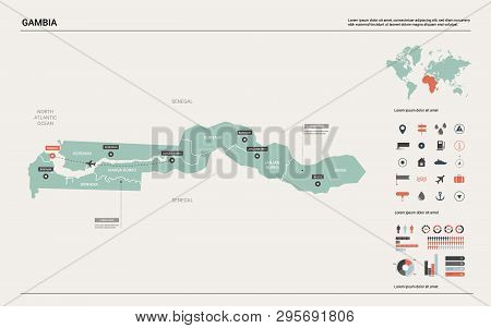 Vector Map Of Gambia.  High Detailed Country Map With Division, Cities And Capital Banjul. Political