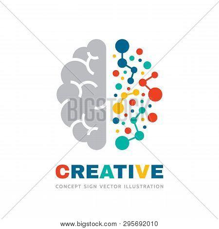 Creative Idea - Business Vector Logo Template Concept Illustration. Abstract Human Brain Sign. Geome