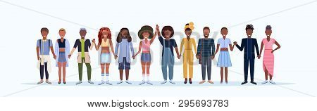 Happy Men Women Standing Together Smiling African American People With Different Hairstyles Wearing