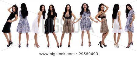 Comprimento total de uma belas moças no vestido