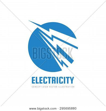 Lightning Electricity Power - Vector Logo Template Concept Illustration. Electronic Technology Power