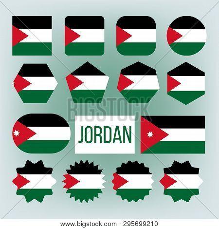 Jordan Various Shapes Vector National Flags Set. Hashemite Kingdom Of Jordan Official Emblems Icons