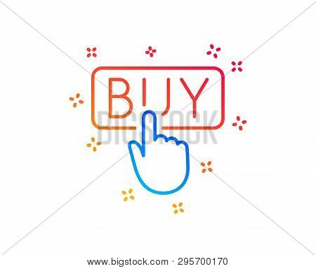 Click To Buy Line Icon. Online Shopping Sign. E-commerce Processing Symbol. Gradient Design Elements