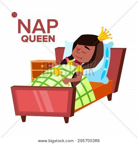 Napping Girl, Sleeping Child Vector Cartoon Character. Kid Wearing Crown Isolated Clipart. Little Pr