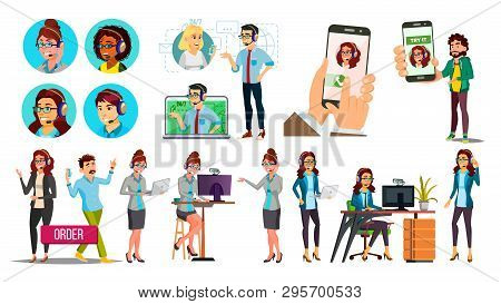 Dispatchers, Client Support Team Vector Characters Set. Male, Female Dispatchers Using Professional