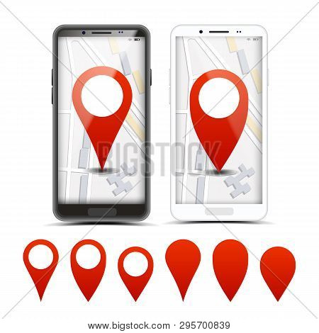 Gps Navigator Red Pointers, Vector Markers Set. City Map Pointer, Pinpoint On Smartphone Screen. Loc