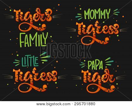 Tigers Family Set Color Hand Draw Calligraphy Script Lettering Text Whith Dots, Splashes And Whisker