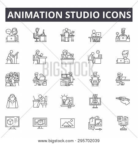 Animation Studio Line Icons, Signs Set, Vector. Animation Studio Outline Concept, Illustration: Anim