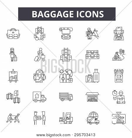 Baggage Line Icons, Signs Set, Vector. Baggage Outline Concept, Illustration: Suitcase, Luggage, Bag