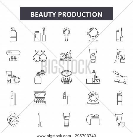 Beauty Production Line Icons, Signs Set, Vector. Beauty Production Outline Concept, Illustration: Pr