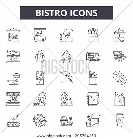Bistro Line Icons, Signs Set, Vector. Bistro Outline Concept, Illustration: Bistro, Food, Restaurant