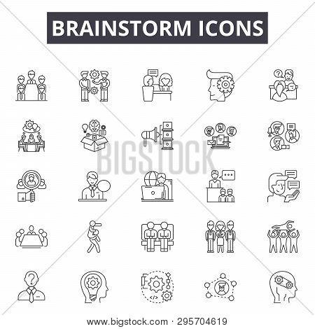 Brainstorm Line Icons, Signs Set, Vector. Brainstorm Outline Concept, Illustration: Idea, Brainstorm