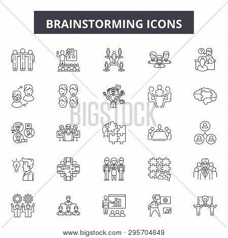 Brainstorming Line Icons, Signs Set, Vector. Brainstorming Outline Concept, Illustration: Idea, Brai