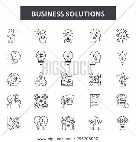 Business Solutions Line Icons, Signs Set, Vector. Business Solutions Outline Concept, Illustration: