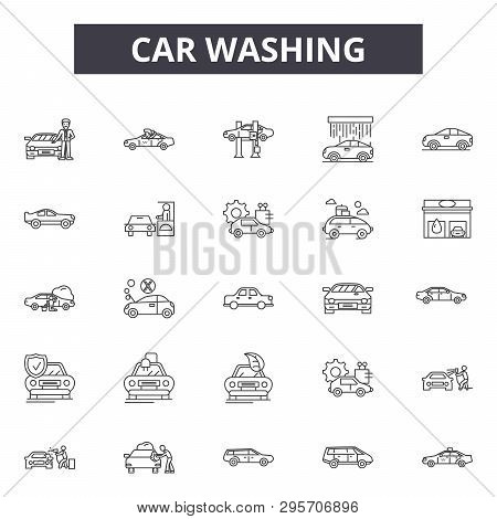 Car Washing Line Icons, Signs Set, Vector. Car Washing Outline Concept, Illustration: Car, Wash, Ser