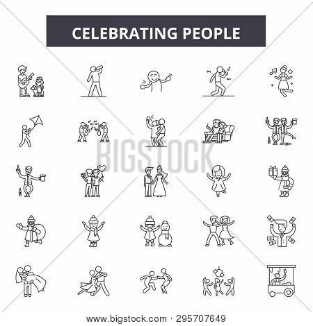 Celebrating People Line Icons, Signs Set, Vector. Celebrating People Outline Concept, Illustration: