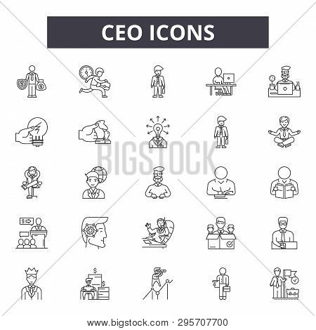 Ceo Line Icons, Signs Set, Vector. Ceo Outline Concept, Illustration: Ceo, Business, People, Manager