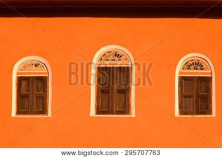 Ancient Background & Front View Of Old, Ancient Windows. Traditional Old Style Windows Isolated On O
