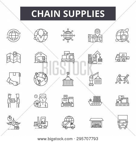 Chain Supplies Line Icons, Signs Set, Vector. Chain Supplies Outline Concept, Illustration: Business