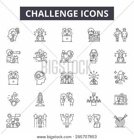 Challenge Line Icons, Signs Set, Vector. Challenge Outline Concept, Illustration: Challenge, Busines