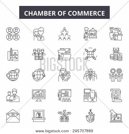 Chambers Of Commerce Line Icons, Signs Set, Vector. Chambers Of Commerce Outline Concept, Illustrati