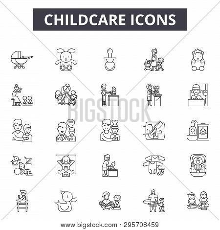 Chilcare line icons, signs set, vector. Chilcare outline concept, illustration: baby, childcare, child, care, family, mother poster