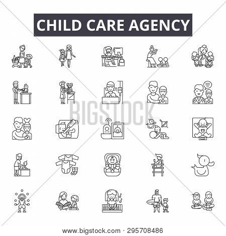 Child Care Agency Line Icons, Signs Set, Vector. Child Care Agency Outline Concept, Illustration: Ca