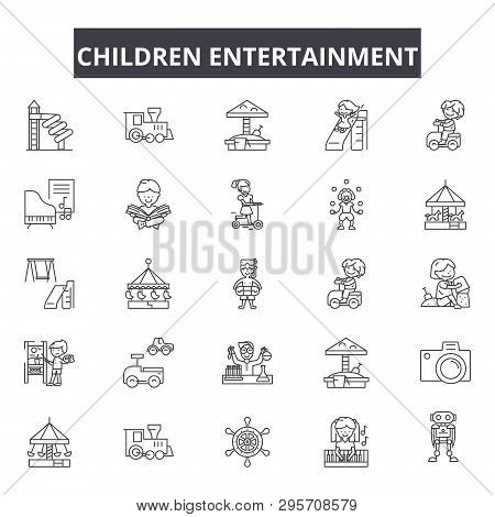 Children Entertainment Line Icons, Signs Set, Vector. Children Entertainment Outline Concept, Illust