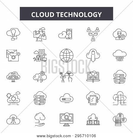 Cloud Technology Line Icons, Signs Set, Vector. Cloud Technology Outline Concept, Illustration: Comp