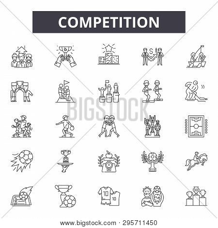 Competition Line Icons, Signs Set, Vector. Competition Outline Concept, Illustration: Competition, D