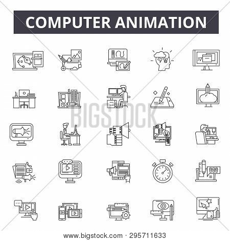 Computer Animation Line Icons, Signs Set, Vector. Computer Animation Outline Concept, Illustration: