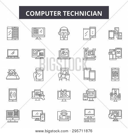 Computer Technician Line Icons, Signs Set, Vector. Computer Technician Outline Concept, Illustration