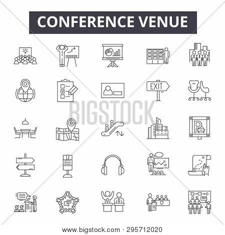 Conference Venue Line Icons, Signs Set, Vector. Conference Venue Outline Concept, Illustration: Mode
