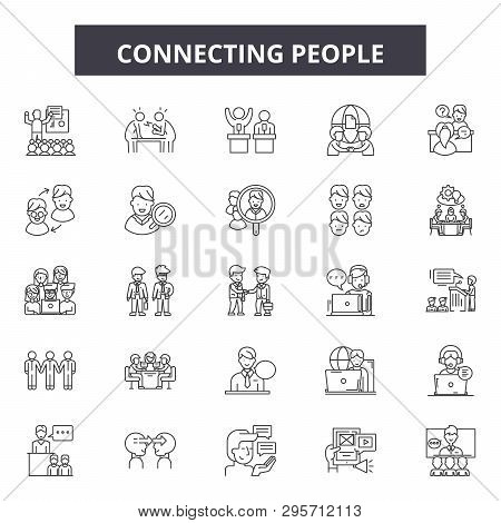 Connecting People Line Icons, Signs Set, Vector. Connecting People Outline Concept, Illustration: Co