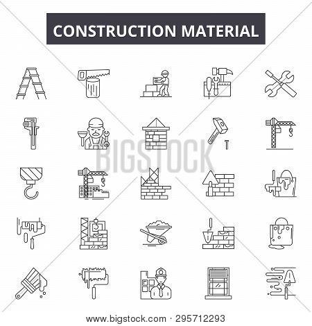 Construction Material Line Icons, Signs Set, Vector. Construction Material Outline Concept, Illustra