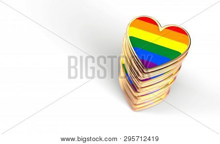 Golden Hearts With Rainbow Flag Inside Stack Or Pile. Gay Pride, Lgbt, Bisexual, Homosexual Symbol C