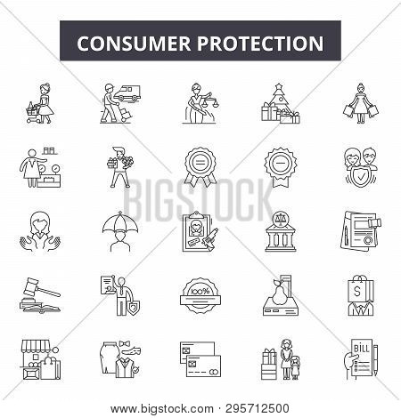 Consumer Protection Line Icons, Signs Set, Vector. Consumer Protection Outline Concept, Illustration