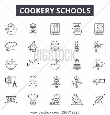 Cookery Schools Line Icons, Signs Set, Vector. Cookery Schools Outline Concept, Illustration: Chef,